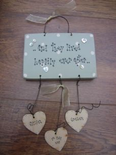 Wooden shabby Personalised Wedding present Chic gift...